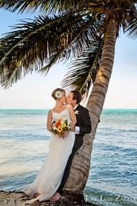 Romance under a coconut tree, Ambergris Caye, Belize Wedding, Casa Caracol