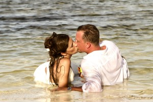 Trash the dress wedding photo shoot at Portofino Resort, Ambergris Caye, Belize