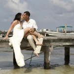 Romance on a Dock, Belize Wedding Photography, Ambergris Caye Belize.