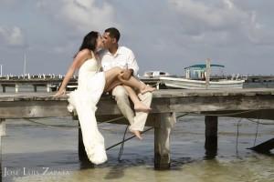 Romance on a Dock, Belize Wedding Photography, Ambergris Caye Belize.