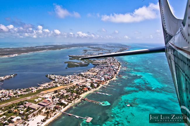San Pedro Ambergris Caye Belize. Aerial photo San Pedro Ambergris Caye Belize