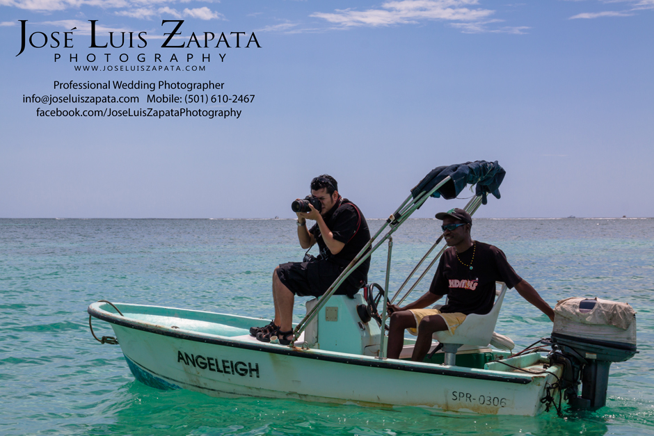 Belize Photographer Jose Luis Zapata, behind the scenes taking photos of a destination wedding in Belize