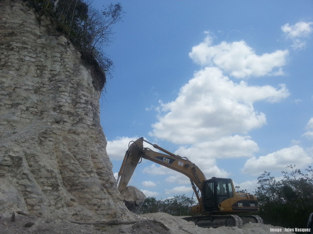 Nohmul Maya Site in Belize destroyed by construction company and used for road fill.