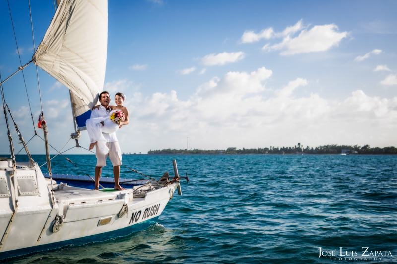 Catamaran Sailing Ambergris Caye Belize Wedding