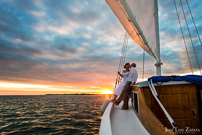 Sunset Sailing Cruise Destination Wedding, Ambergris Caye, Belize Weddings, San Pedro Photographer