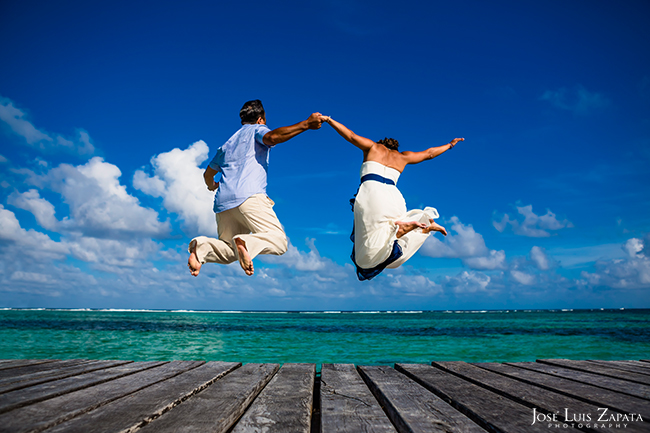 Jumping off the dock, Belize Wedding, Tranquility Bay Resort, Ambergris Caye, San Pedro Belize Wedding Photographer
