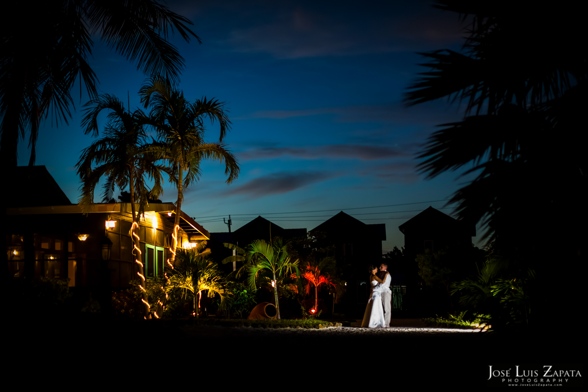 Beautiful couple photographed after sunset at X'Tan Ha Resort, Ambergris Caye - Belize Photographer, Best Wedding Locations 2014
