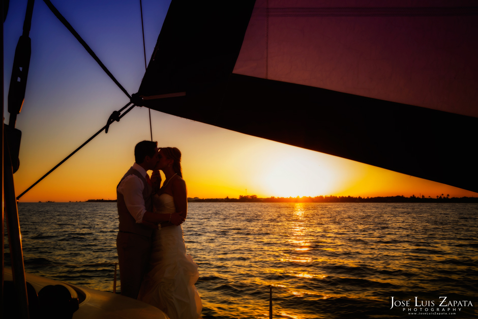 Catamaran Sunset Sail Wedding - Belize Wedding Photographer