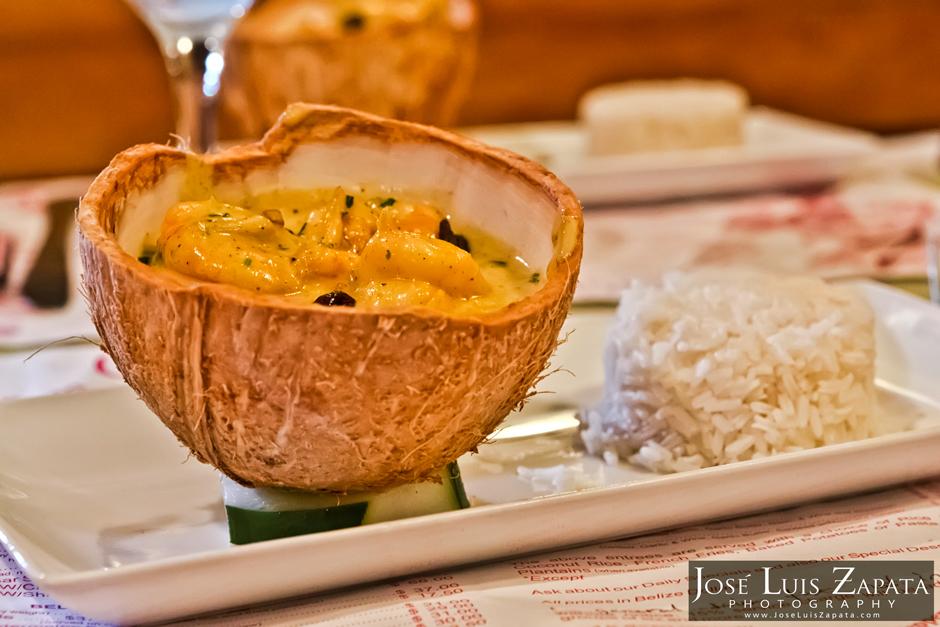 Coconut Cream Shrimp Elvis Kitchen Ambergris Caye Restaurant Belize
