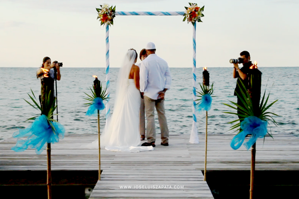 Destination wedding photography at Cayo Espanto Private Island Resort