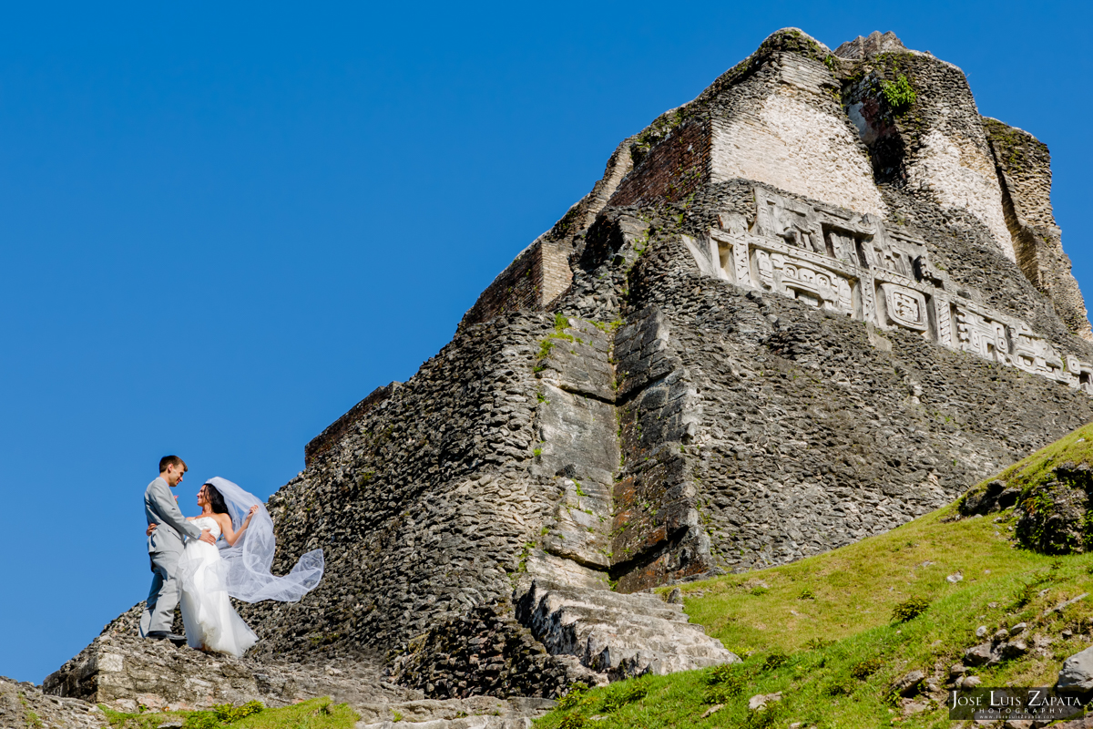 Mayan Wedding and Next Day Beach Photos in Belize - Xunantunich, San Pedro Ambergris Caye