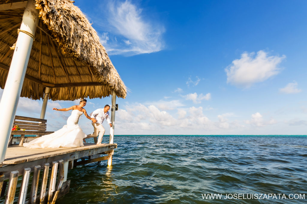 Trash the Dress in Belize. Mayan Ruin Wedding Photos and Beach Wedding